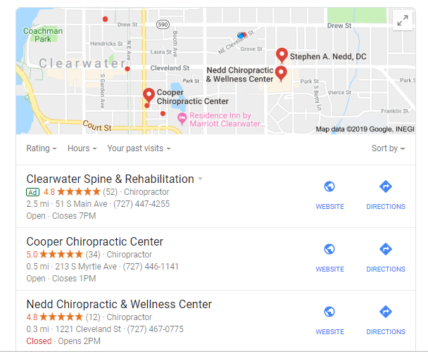 Google Maps results